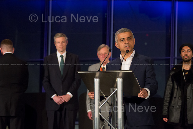 (From L to R) Paul Golding, Zac Goldsmith MP, Lee Harris, Sadiq Khan MP (New Mayor of London) &amp; Ankit Love.<br /> <br /> London, 06-07/05/2016. The morning after the London Mayoral Election, press began to congregate on the ninth floor of City Hall to report on the results and the official announcement of the new Mayor of London. At 15:21, the press team of City Hall announced the results by constituency. At just gone 17:30, the press videographers and photographers were escorted downstairs to the Chamber (second floor) to wait for the official final announcement. The press waited, however, almost five hours for this to happen. At 22:11, the Greater London Returning Officer, Jeff Jacobs, approached the stage and presented the new Greater London Assembly members. And, finally, at 12:18 on the 7th of May (just under nine hours after the first City Hall press announcement), Mr Jacobs officially announced the new Mayor of London, Sadiq Khan for the Labour Party. An official statement (that you can find at https://londonelects.org.uk/news-centre/news-listing/election-count-delay-explained and in the PDF attached to this story) was released on the 7th of May to explain the delay - which was previously described as being due to &quot;minor discrepancies in Mayoral figures&quot;. <br /> For more information, official statements, the results of the Mayoral Election and links for the London Assembly Members Election Results please find the PDF attached at the beginning of the story.<br />    <br /> London Mayoral Election 2016 Results:<br /> (Sources London Elects &amp; Wikipedia)<br /> https://www.londonelects.org.uk/sites/default/files/Part%201%20Election%20of%20the%20London%20Mayor.pdf <br /> https://en.wikipedia.org/wiki/London_mayoral_election,_2016<br /> <br /> London Assembly Members Election 2016 Results:<br /> (Sources London Elects &amp; Wikipedia)<br /> https://www.londonelects.org.uk/sites/default/files/London-wide%20Assembly%20Member%20results%202016.pdf<br /
