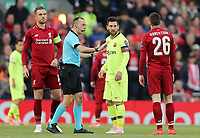 Barcelona's Lionel Messi remonstrates with Referee Cuneyt Cakir after a challenge from Liverpool's Andrew Robertson<br /> <br /> Photographer Rich Linley/CameraSport<br /> <br /> UEFA Champions League Semi-Final 2nd Leg - Liverpool v Barcelona - Tuesday May 7th 2019 - Anfield - Liverpool<br />  <br /> World Copyright © 2018 CameraSport. All rights reserved. 43 Linden Ave. Countesthorpe. Leicester. England. LE8 5PG - Tel: +44 (0) 116 277 4147 - admin@camerasport.com - www.camerasport.com