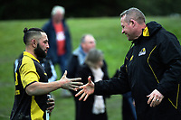 Lions coach Chris Gibbes shakes hands with Frae Wilson after the Mitre 10 Cup preseason rugby match between the Wellington Lions and Manawatu Turbos at Otaki Domain in Otaki, New Zealand on Sunday, 6 August 2017. Photo: Dave Lintott / lintottphoto.co.nz