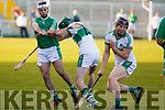 Ballyduff's Jack Goulding attempts to get a shot off as Kanturk close him down, in the Munster IHC semi final in Austion Stack Park on Sunday last.