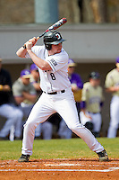 David Daniels (8) of the Davidson Wildcats at bat against the Western Carolina Catamounts at Wilson Field on March 10, 2013 in Davidson, North Carolina.  The Catamounts defeated the Wildcats 5-2.  (Brian Westerholt/Four Seam Images)