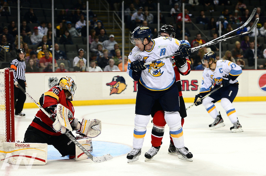 Oct 19, 2012; Toledo, OH, USA; Toledo Walleye left wing Randy Rowe (18) against the Cincinnati Cyclones at Huntington Center: Mandatory Credit: Andrew Weber