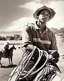 USA, Hawaii, The Big Island, Waimea, close-up of a Paniolo cowboy on horseback at the Parker Ranch (B&W)