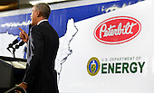 United States President Barack Obama makes remarks on the economy at a Safeway Distribution Center, February 18, 2014, in Upper Marlboro, Maryland. Obama pushed his economic plan by calling attention to the better fuel efficiency of tractor trailers, which improves the environment and saves money for industry.  <br /> Credit: Mike Theiler / Pool via CNP