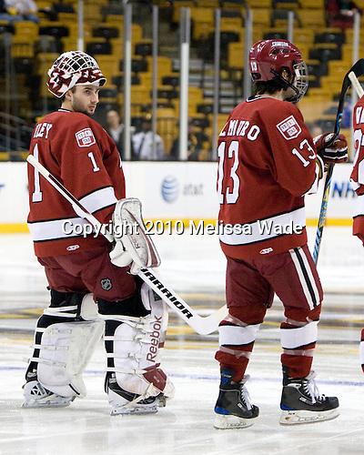 John Riley (Harvard - 1), Michael Del Mauro (Harvard - 13) - The Northeastern University Huskies defeated the Harvard University Crimson 4-1 (EN) on Monday, February 8, 2010, at the TD Garden in Boston, Massachusetts, in the 2010 Beanpot consolation game.