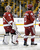 John Riley (Harvard - 1), Michael Del Mauro (Harvard - 13) - The Northeastern University Huskies defeated the Harvard University Crimson 4-1 (EN) on Monday, February 8, 2010, at the TD Garden in Boston, Massachusetts, in the 2010 Beanpot consolation game.