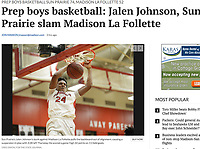 Sun Prairie's Jalen Johnson's slam dunk pulls the backboard out of alignment, causing a suspension in play with 3:28 left in the game, as La Follette takes on Sun Prairie in Wisconsin high school boys basketball on Thursday, 1/11/18, at Sun Prairie High School | Wisconsin State Journal article in Sports 1/12/18 and online at http://host.madison.com/wsj/sports/high-school/basketball/boys/prep-boys-basketball-jalen-johnson-sun-prairie-slam-madison-la/article_41be3016-a50f-5e44-a606-84de5fb95045.html