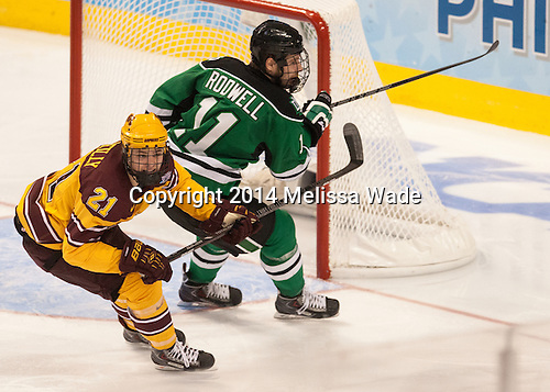 Connor Reilly (MN - 21), Derek Rodwell (North Dakota - 11) - The University of Minnesota Golden Gophers defeated the University of North Dakota 2-1 on Thursday, April 10, 2014, at the Wells Fargo Center in Philadelphia to advance to the Frozen Four final.