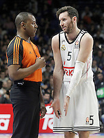 Real Madrid's Rudy Fernandez have words with the referee during Euroleague match.January 22,2015. (ALTERPHOTOS/Acero) /NortePhoto<br />