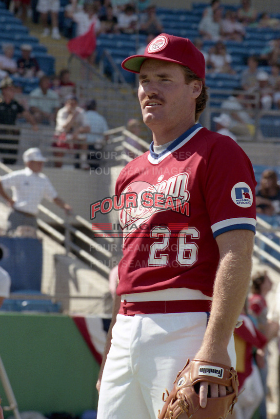 Wade Boggs (26) during the 8th annual Pizza Hut All-Star Softball game on February 5, 1989 at Boardwalk and Baseball in Haines City, Florida.  (MJA/Four Seam Images)
