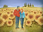 Illustrative image of senior couple walking in sunflower field representing happy retired life