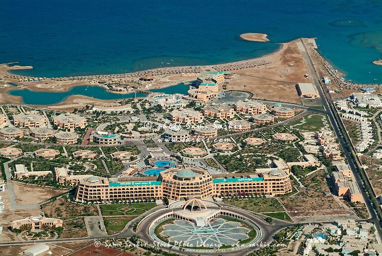 View of coastal luxury resorts, Hurghada, Red Sea, Egypt.