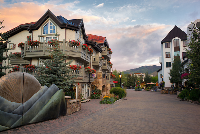 Main street in Vail village with sunrise. Vail Colorado