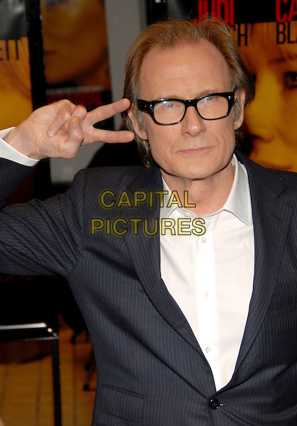 "BILL NIGHY.Fox Searchlight premiere of ""Notes On a Scandal"" at Cinema 1, New York, NY, USA..December 18th, 2006.half length v peace sign hand gesture glasses .CAP/ADM/PH.©Paul Hawthorne/AdMedia/Capital Pictures *** Local Caption ***"