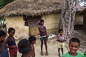 Young children in a playful mood in Khurmaniya village in Raxaul district of Bihar.