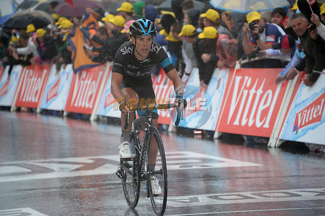 Richie Porte (AUS) Team Sky crosses the line in 4th place at the end of Stage 8 of the 2014 Tour de France running 161km from Tomblaine to Gerardmer La Mauselaine. 12th July 2014.<br /> Photo ASO/B.Bade/www.newsfile.ie