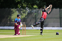 Tom Nicholl pf NMCC takes a wicket during North Middlesex CC vs Hampstead CC, Middlesex County League Cricket at Park Road on 25th May 2019