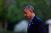 United States President Barack Obama returns to the White House after traveling to the Florida Everglades to deliver remarks on the threat that climate change poses to the US economy, April 22, 2015 in Washington, DC. <br /> Credit: Aude Guerrucci / Pool via CNP