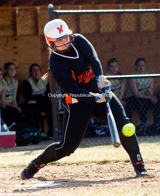 Beacon Falls, CT- 05 April 2013-040513CM05-  Watertown's Sara Selimovski cracks a single against Woodland during their NVL matchup Friday afternoon in Beacon Falls.  Christopher Massa Republican-American