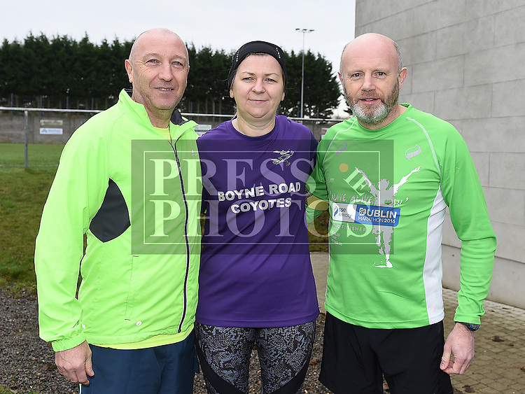 Brian Watters, Annmarie Brady and Anthony McEneaney who ran with Don Thornton on Day 183 of 365, the halfway point along his journey of running 10k a day for 365 days. Photo:Colin Bell/pressphotos.ie