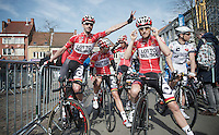pré-race goofing around for later race winner Kenny Dehaes (BEL) and buddy/teammate Tosh Van der Sande (BEL)<br /> <br /> Nokere Koerse 2014
