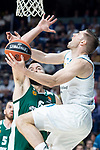 Real Madrid Fabien Causeur and Panathinaikos Ian Vougioukas during Turkish Airlines Euroleague Quarter Finals 4th match between Real Madrid and Panathinaikos at Wizink Center in Madrid, Spain. April 27, 2018. (ALTERPHOTOS/Borja B.Hojas)