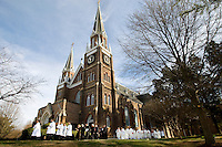 Clergymen process into the Basilica for The Rite of Solemn Profession at Belmont Abbey in Belmont, NC.