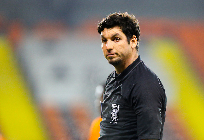 Referee Daniel Issawi<br /> <br /> Photographer Alex Dodd/CameraSport<br /> <br /> The FA Youth Cup Third Round - Blackpool U18 v Derby County U18 - Tuesday 4th December 2018 - Bloomfield Road - Blackpool<br />  <br /> World Copyright © 2018 CameraSport. All rights reserved. 43 Linden Ave. Countesthorpe. Leicester. England. LE8 5PG - Tel: +44 (0) 116 277 4147 - admin@camerasport.com - www.camerasport.com
