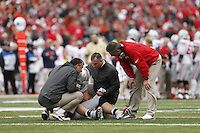 Ohio State University head football coach Urban Meyer comes out on the field to check on an injured Ohio State Buckeyes defensive lineman Joey Bosa (97) during Saturday's NCAA Division I football game at Memorial Stadium in Champaign, Il., on November 16, 2013. (Barbara J. Perenic/The Columbus Dispatch)