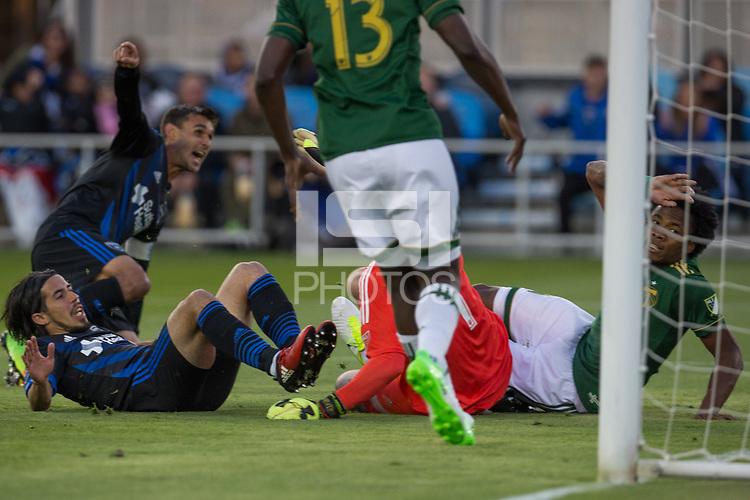 Santa Clara, CA - Saturday, May 6, 2017: The San Jose Earthquakes beat the Portland Timbers 3-0 at the Avaya Stadium in Santa Clara.