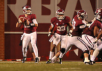 NWA Media/Michael Woods --10/11/2014-- w @NWAMICHAELW...University of Arkansas quarterback Brandon Allen scrambles out of the pocket in the 4th quarter of Saturdays game at Razorback Stadium in Fayetteville.
