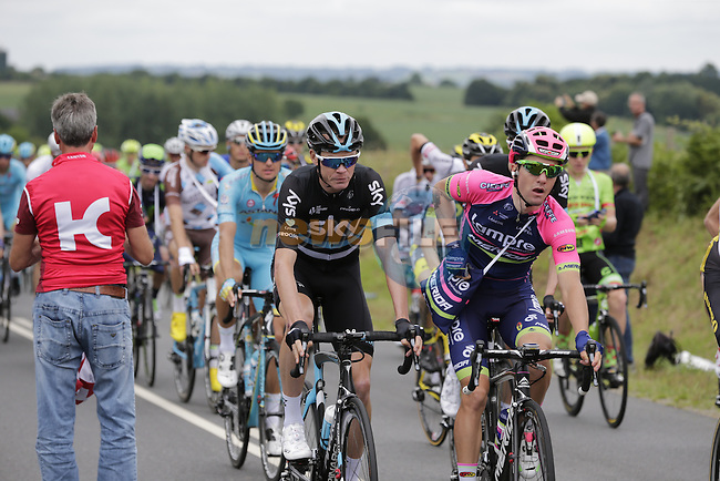 Riders, including Chris Froome (GBR) Team Sky, pass through the feed zone at La Hargriniere during Stage 3 of the 2016 Tour de France, running 223.5km from Granville to Angers, France . 4th July 2016.<br /> Picture: Eoin Clarke | Newsfile<br /> <br /> <br /> All photos usage must carry mandatory copyright credit (&copy; Newsfile | Eoin Clarke)