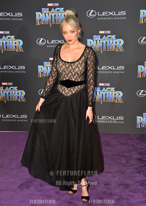 """Pom Klementieff at the world premiere for """"Black Panther"""" at the Dolby Theatre, Hollywood, USA 29 Jan. 2018<br /> Picture: Paul Smith/Featureflash/SilverHub 0208 004 5359 sales@silverhubmedia.com"""