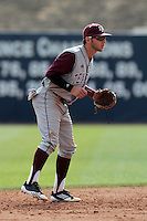 Mikey Reynolds #16 of the Texas A&M Aggies at shortstop against the Pepperdine Waves at Eddy D. Field Stadium on March 23, 2012 in Malibu,California. Texas A&M defeated Pepperdine 4-0.(Larry Goren/Four Seam Images)