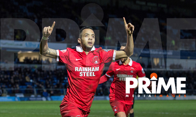 Calaum Jahraldo-Martin of Leyton Orient celebrates his goal during the Sky Bet League 2 match between Wycombe Wanderers and Leyton Orient at Adams Park, High Wycombe, England on 23 January 2016. Photo by Massimo Martino / PRiME Media Images.