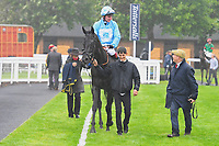 Winner of The S H Jones Wines Handicap Maid of Spirit ridden by Adam Kirby in the Winner's enclosure with trainer Clive Cox  during Horse Racing at Salisbury Racecourse on 14th August 2019
