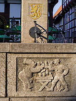 Detail Till Eulenspiegel Brunnen am Marktplatz, Einbeck, Niedersachsen, Deutschland, Europa<br /> detail, Till Eulenspiegel Fountain at market place, Einbeck, Lower Saxony, Germany, Europe