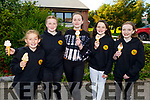 Maggie Tobin Spillane, Amanda Diggin, Eda Stewart, Caoimhe Griffin and Clodagh Moore enjoying their ice cream at their graduation in Gaelscoil Mhic Easmainn  NS on Thursday.