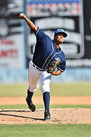 Asheville Tourists starting pitcher Erick Julio (29) delivers a pitch during a game against the Rome Braves at McCormick Field on June 10, 2017 in Asheville, North Carolina. The Braves defeated the Tourists 4-2. (Tony Farlow/Four Seam Images)