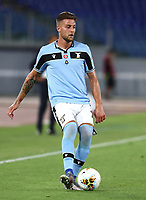Football, Serie A: S.S. Lazio - Fiorentina, Olympic stadium, Rome, June 27, 2020. <br /> Lazio's Sergej Milinkovic-Savic in action during the Italian Serie A football match between S.S. Lazio and Fiorentina at Rome's Olympic stadium, Rome, on June 27, 2020. <br /> UPDATE IMAGES PRESS/Isabella Bonotto