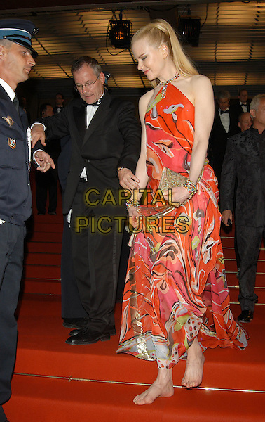"NICOLE KIDMAN.leaves competition screening of ""Dogville"" .barefoot.Cannes Film Festival 2003.www.capitalpictures.com.sales@capitalpictures.com.©Capital Pictures"