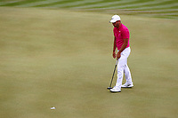 Jordan Smith putts on the 3rd green during the BMW PGA Golf Championship at Wentworth Golf Course, Wentworth Drive, Virginia Water, England on 28 May 2017. Photo by Steve McCarthy/PRiME Media Images.
