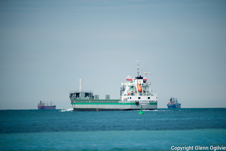 A total of seven ships could be seen anchored on Lake Huron off Canatara Park, Thursday. Here the Vikingbank of Delfzijl sails into Lake Huron as ships wait for ice conditions to improve.