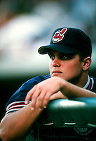 Jared Wright of the Cleveland Indians during a game at Anaheim Stadium in Anaheim, California during the 1997 season.(Larry Goren/Four Seam Images)