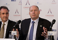 November 2012 file Photo - News conference for  the Tour des Canadiens ;  a new condo project by Club De Hockey Canadien, Canderel, Cadillac Fairview Corporation and Fonds de Solidarité FTQ  - Left to Right : Salvatore Iacono, Daniel Peritz, Yvon Bolduc,Geoff Molson. IN PHOTO :  Yvon Bolduc