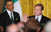 Prime Minister Enda Kenny of Ireland speaks as United States President Barack Obama looks on during a reception in the East Room of the White House in Washington, D.C., March 19, 2013 in Washington, DC. <br /> Credit: Olivier Douliery / Pool via CNP