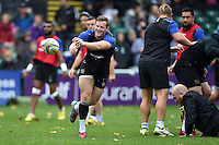 Chris Cook of Bath Rugby passes the ball. Bath Rugby Captain's Run on October 30, 2015 at the Recreation Ground in Bath, England. Photo by: Patrick Khachfe / Onside Images