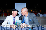 Michael Healy-Rae shares a joke with Kieran Donaghy at the launch of his book Time to Talk in the Gleneagle on Tuesday night
