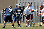 Beverly Hills, CA 04/12/10 - Matthew Bomberger (Loyola # 19), Christian Montanari (Loyola # 13) and Adam Lasman (Beverly Hills # 3)in action during the Loyola-Beverly Hills Boys Varsity Lacrosse game at Beverly Hills High School, Loyola defeated Beverly Hills 16-0.