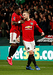 Luke Shaw of Manchester United celebrates scoring the first goal during the FA Cup match at the Pride Park Stadium, Derby. Picture date: 5th March 2020. Picture credit should read: Darren Staples/Sportimage
